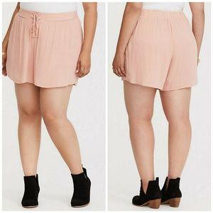 Torrid Womens Shorts Peach Lace-Up Crepe 2X NWOT